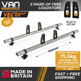 Toyota Proace Roof Rack (L2) LWB 2013-2016-2x Roof Bars Vecta Bars by Hubb