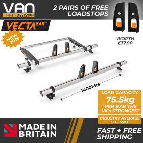 Mercedes Vito Roof Rack, (L2/L3/H1)-2004 On-2x Roof Bars Vecta Bars + Rear Roller