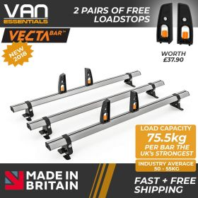Fiat Ducato Roof Bars - 2006 Onwards- All H1 &  H2 Models- 3 x Aluminium Van Roof Bars and Free Load Stops - Vecta Bar By Hubb Systems
