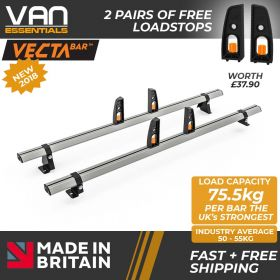 Volkswagen Crafter Roof Rack, H2-2017 On- 2x Roof Bars Vecta Bars by Hubb Systems