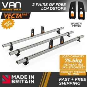 Volkswagen Crafter Roof Rack, H2-2017 On- 3x Roof Bars Vecta Bars by Hubb Systems