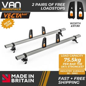 Toyota Proace Roof Rack,(L2) MWB 2016 On-2x Roof Bars Vecta Bars by Hubb Systems