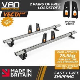Fiat Doblo Roof Bars - 2010 Onwards - 2 x Aluminium Van Roof Bars and Free Load Stops - Vecta Bar by Hubb Systems