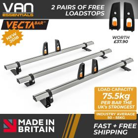 Fiat Doblo Roof Bars - 2010 Onwards - 3 x Aluminium Van Roof Bars and Free Load Stops - Vecta Bar by Hubb Systems