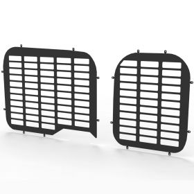 Fiat Doblo 2010 Onwards Twin Rear Door Window Guard Grilles in Black-PAIR