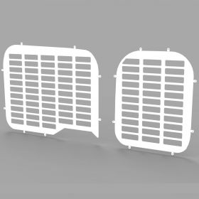 Fiat Doblo 2010 Onwards Twin Rear Door Window Guard Grilles in White-PAIR