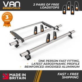Vauxhall Combo Cargo XLong Wheelbase L2/H1 Roof Rack Dec 2018 On-2x Roof Bars +Rear Roller