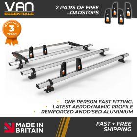 Vauxhall Vivaro Roof Bars 2014 – July 2019 - All High Roof H2 Models- 3 x Aluminium Van Roof Bars + Rear Roller + Free Load Stops - Vecta Bar By Hubb Systems