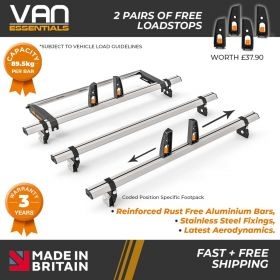 Ford Transit Roof Bars - 2000-2014 - All Low Roof -50mm Gutter Height (H1) 3 x Roof Bars & Rear Roller & 4 Free Load Stops - Vecta Bar By Hubb Systems