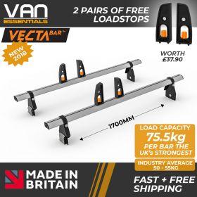 Ford Transit Roof Bars - 2000-2014 - All Medium Roof -100mm Gutter Height (H2) 2 x Aluminium Van Roof Bars and Free Load Stops - Vecta Bar By Hubb Systems