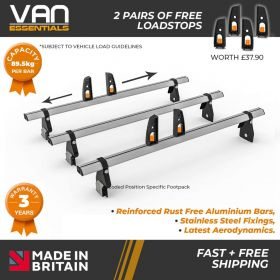 Ford Transit Roof Bars - 2000-2014 - All Medium Roof -100mm Gutter Height (H2) 3 x Aluminium Van Roof Bars and Free Load Stops - Vecta Bar By Hubb Systems