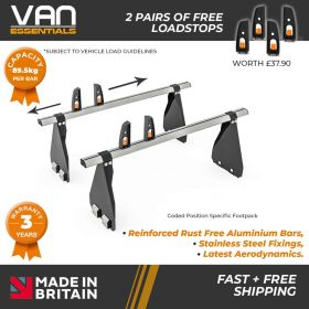 Ford Transit Roof Bars - 2000-2014 - All High Roof -340mm Gutter Height (H3) 2 x Aluminium Van Roof Bars and Free Load Stops - Vecta Bar By Hubb Systems