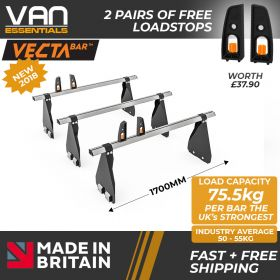 Ford Transit Roof Bars - 2000-2014 - All High Roof -340mm Gutter Height (H3) 3 x Aluminium Van Roof Bars and Free Load Stops - Vecta Bar By Hubb Systems