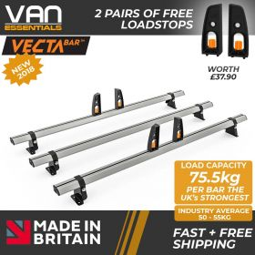 Hyundai iLoad Roof Bars -2009 Onwards- Short wheel Base (L1) , Low Roof (H1) 3 x Aluminium Roof Bars and Free Load Stops - Vecta Bar By Hubb Systems