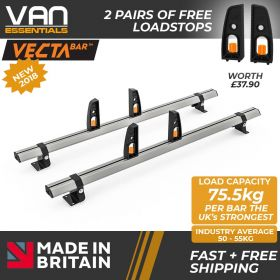 Vauxhall Movano Roof Rack,2010 Onwards - 2x Roof Bars Vecta Bars by Hubb Systems
