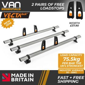 Vauxhall Movano Roof Rack,2010 Onwards - 3x Roof Bars Vecta Bars by Hubb Systems