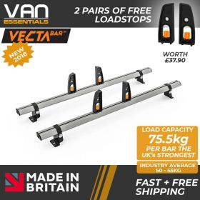 Volkswagen Crafter Roof Rack, H2- 2006-2017 - 2x Roof Bars Vecta Bars by Hubb