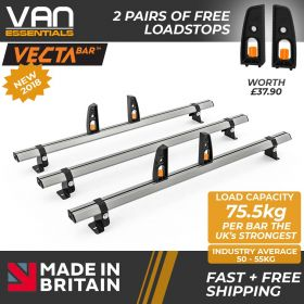 Volkswagen Crafter Roof Rack, H1- 2006-2017 - 3x Roof Bars Vecta Bars by Hubb