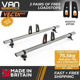 Fiat Scudo Roof Rack (L2) LWB 2006 On-2x Roof Bars Vecta Bars by Hubb Systems