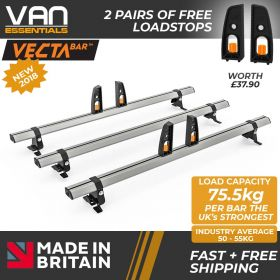 Toyota Proace Roof Rack (L2) LWB 2013-2016-3x Roof Bars Vecta Bars by Hubb Systems