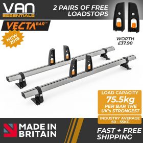 Vauxhall Vivaro Roof Rack,2002-2014 Low Roof 2x Roof Bars Vecta Bars by Hubb Systems