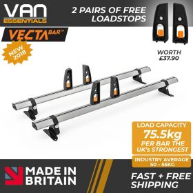 Vauxhall Vivaro Roof Bars 2014 – July 2019 - All Low Roof H1 Models- 2 x Aluminium Van Roof Bars and Free Load Stops - Vecta Bar By Hubb Systems