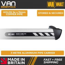 Van Vault Roof Tube 100 - S10520 - 3 Metre Lightweight and Tough Aluminium Pipe Carrier