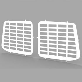 VW Transporter T6 and T5 all years Rear Door Window Guard Grilles in White-PAIR