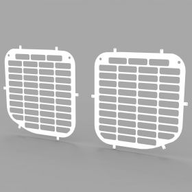 Ford Transit Crew Cab/Tipper 2014 On Cab Side Window Guard Grilles in White-PAIR