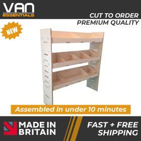 Peugeot Partner Van Racking - 2008 Onwards-3 Shelf Birchwood Plywood Shelving/Racking-External Size: (H)1087mm x (W)1000mm x (D)269mm.