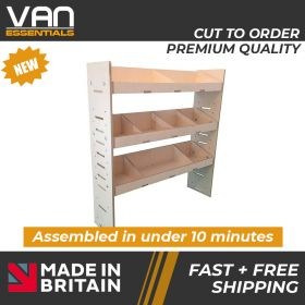 Volkswagen T5 Transporter Van Racking - 2002 Onwards-3 Shelf Birchwood Plywood Shelving/Racking-External Size: (H)1087mm x (W)1000mm x (D)269mm.