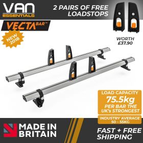 Mercedes Vito Roof Rack, (L2/L3/H1)-2004 On-2x Roof Bars Vecta Bars by Hubb Systems