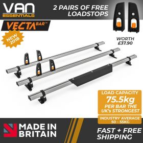 Vauxhall Vivaro Roof Bars 2014 – July 2019 - All Low Roof H1 Models- 3 x Aluminium Van Roof Bars and Free Load Stops - Vecta Bar By Hubb Systems