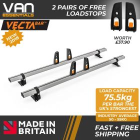 Nissan Primastar Roof Bars 2002 Up To 2014 - All High Roof H2 Models- 2 x Aluminium Van Roof Bars and Free Load Stops - Vecta Bar By Hubb Systems