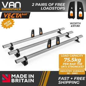 Nissan NV300 Roof Bars 2016 Onwards - All High Roof H2 Models- 3 x Aluminium Van Roof Bars and Free Load Stops - Vecta Bar By Hubb Systems
