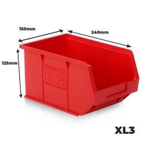 6 x Plastic Storage Container Bins XL3, 240mm (L) X 150mm (W) X 125mm (H)