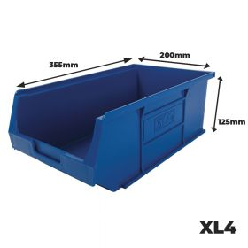 4 x Plastic Storage Container Bins XL4, 355mm (L) X 200mm (W) X 125mm (H)