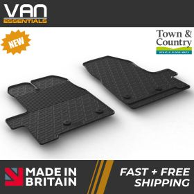 Pair of Front Rubber Mats - Ford Transit Custom 2014 Onwards - Town & Country Tailored Fit Rubber Mats